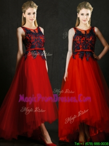 Perfect High Low Belted and Black Applique Prom Dress in Red