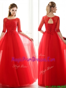 See Through Scoop Half Sleeves Red Prom Dress with Lace and Belt