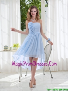 Empire Strapless Hand Made Flowers Prom Dress with High Low