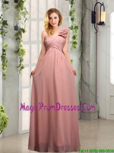 Empire Ruching One Shoulder Prom Dress with Hand Made Flowers