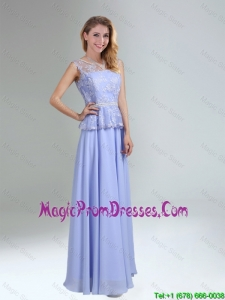 Lavender Belt and Lace Empire 2016 Prom Dress with Bateau