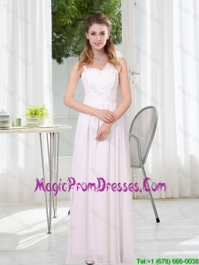2016 White Empire Ruching Prom Dresses with Asymmetrical