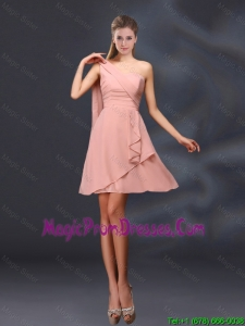 2016 One Shoulder Ruching Chiffon Prom Dresses in Peach