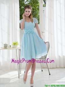 Hand Made Flowers Cap sleeves Prom Dress for 2016