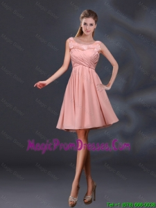 2016 Bateau A Line Fashionable Prom Gowns with Appliques and Ruching