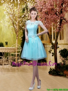 2016 Luxurious A Line Belt and Appliques Fashionable Prom Gowns with Cap Sleeves
