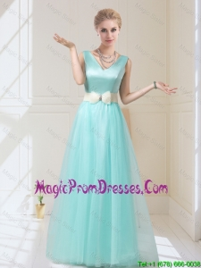 Delicate V Neck Floor Length Fashionable Prom Gowns with Bowknot for 2016