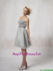 Pretty Short Silver Prom Dresses Sequins and Belt Silver for 2016