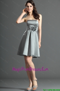 The Super Hot Short Silver Prom Dress with Hand Made Flowers