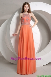 Pretty Beaded Empire Orange Prom Dresses with Halter Top