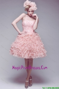 Beautiful Ball Gown Ruffled Layers Prom Gowns with Strapless