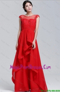 Classical Scoop Beaded and Laced Prom Dresses with Cap Sleeves