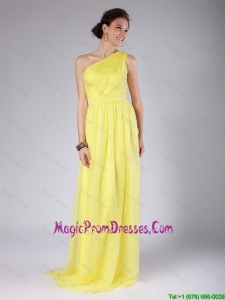 Elegant One Shoulder Sashes Yellow Prom Dresses with Sweep Train for 2016
