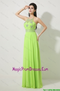Perfect Halter Top Beaded Prom Dresses in Spring Green