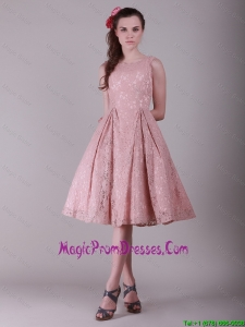 Lovely Ruching Lace Prom Dresses in Peach for 2016