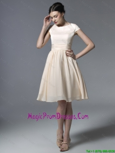 2016 Cheap Short Champagne Prom Dresses with Ruching