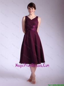 New Arrivals V Neck Tea Length Prom Dresses with Ruching