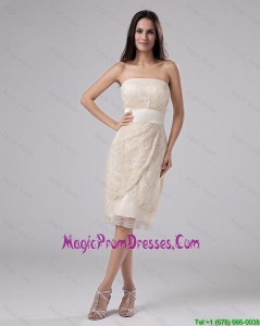 Classical Strapless Laced and Belt Tea-length Prom Gowns in Champagne