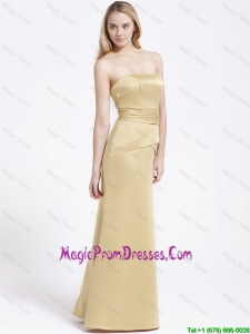 Perfect Column Strapless Prom Gowns with Ruching