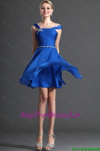Cheap Straps Beading Royal Blue Short Prom Dresses for 2016