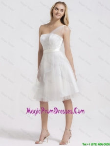New Arrival Knee Length One Shoulder Prom Gowns in White