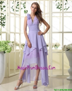Perfect Empire V Neck Prom Dresses with High Low in Lavender