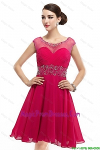 Pretty Mini Length Scoop Hot Pink Prom Dresses with Cap Sleeves