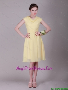 Beautiful Empire High Neck Cap Sleeves Prom Dresses with Ruching