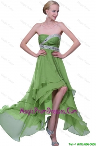 Pretty Strapless Beaded Prom Dresses with High Low