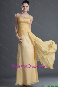 Discount Beading and Ruching Prom Dresses in Gold for 2016