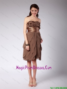 Elegant Ruffles and Belt Short Prom Dresses in Brown for 2016