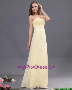 Discount Sweetheart Ruching Light Yellow Prom Dresses