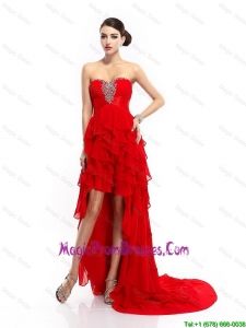 Fashionable High Low Lace Up Prom Gowns with Ruffled Layers