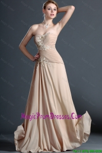 Classical Long Champagne Prom Dresses with Appliques
