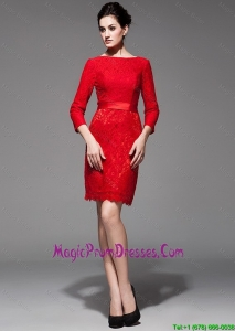 Custom Made 2016 Lace 3/4 Sleeves Short Red Prom Dress with Belt