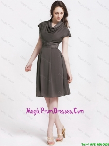 Discount High Neck Knee Length Prom Dresses in Chocolate