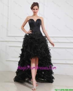 Gorgeous High Low Black Prom Gowns with Beading and Ruffles