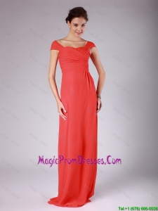 Gorgeous Off the Shoulder Cap Sleeves Ruching Red Prom Dress