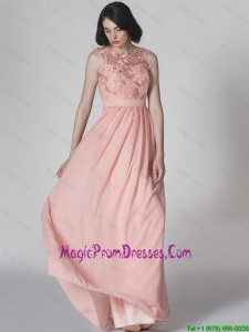 2016 New Style Scoop Pink Prom Dresses in Lace