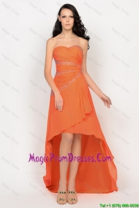 Beautiful High Low Orange Prom Dress with Beading for 2016
