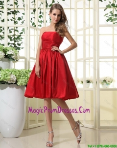 Comfortable Ruching and Pleats Short Prom Dresses in Red for 2016