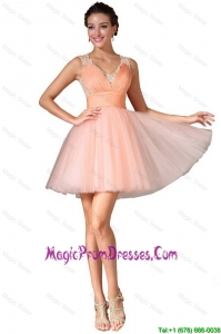 Luxurious V Neck Prom Gowns with Lace and Ruching