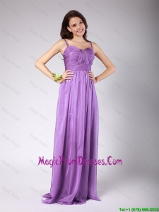 Popular Spaghetti Straps Ruched Prom Dresses with Brush Train