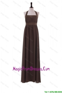 Custom Made 2016 Halter Top Brown Prom Dresses for Brown