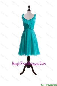 2015 Summer A Line Scoop Prom Dresses with Paillette in Turquoise