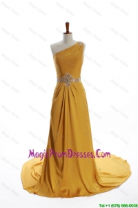 Exquisite One Shoulder Beading Gold Prom Dresses with Court Train