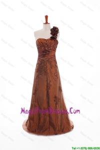 Custom Made Appliques and Hand Made Flowers Discount Prom Dresses