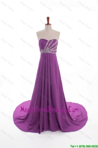 Fashionable Beaded Court Train Prom Dresses in Eggplant Purple
