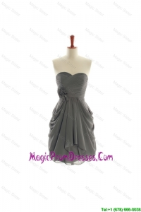 Brand New Hand Made Flowers Short Prom Dresses in Grey
