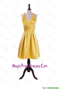 Discount 2016 Ruching Halter Top Short Prom Dress in Gold